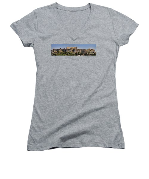 Panorama Of The Acropolis In Athens Women's V-Neck