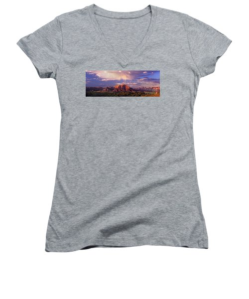 Panorama West Temple At Sunset Zion Natonal Park Women's V-Neck T-Shirt (Junior Cut) by Dave Welling