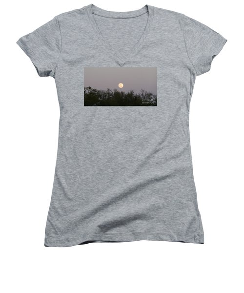 Panoramic New Orleans Moon Rising Women's V-Neck (Athletic Fit)