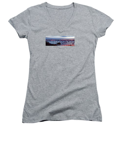 Panoramic Of The Marblehead Illumination Women's V-Neck T-Shirt (Junior Cut) by Jeff Folger