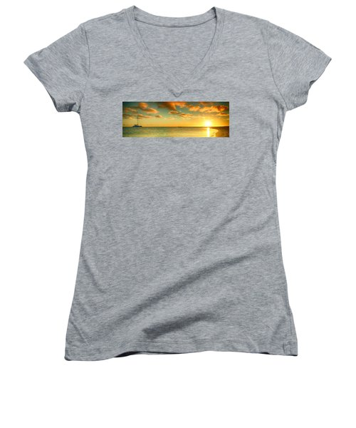 Panoramic Photo Sunrise At Monky Mia Women's V-Neck (Athletic Fit)