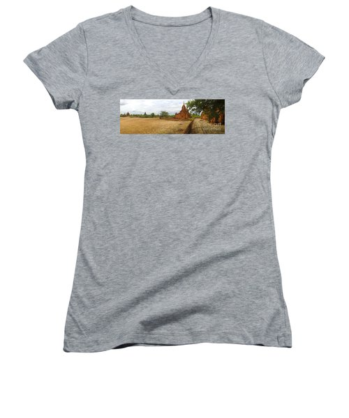 Women's V-Neck T-Shirt (Junior Cut) featuring the photograph Panoramic View Next To Dhammayazika Pagoda Built In 1196 By King Narapatisithu by Ralph A  Ledergerber-Photography
