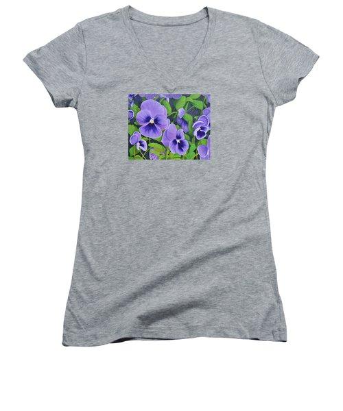Pansies Schmanzies Women's V-Neck T-Shirt (Junior Cut) by Donna  Manaraze