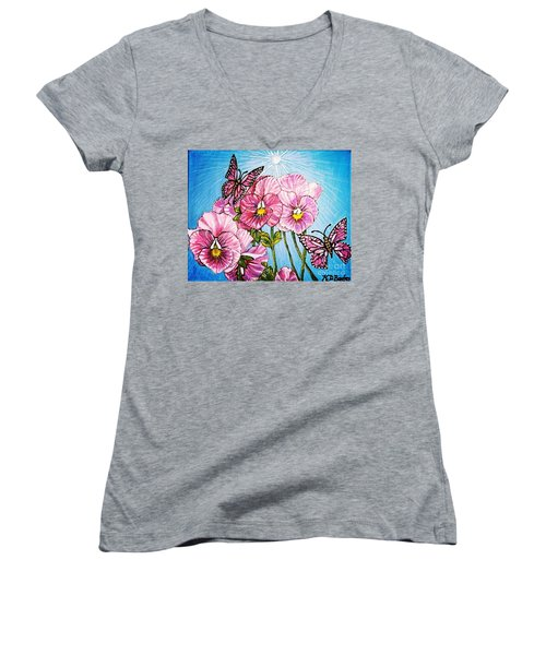 Pansy Pinwheels And The Magical Butterflies With Blue Skies Women's V-Neck T-Shirt (Junior Cut) by Kimberlee Baxter