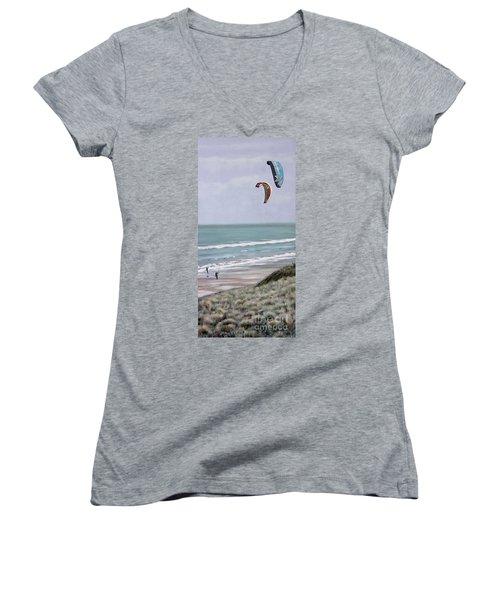 Papamoa Beach 090208 Women's V-Neck T-Shirt (Junior Cut) by Sylvia Kula