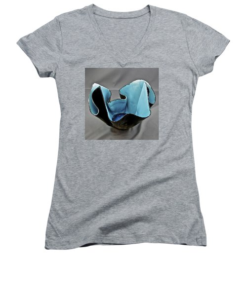 Women's V-Neck T-Shirt (Junior Cut) featuring the sculpture Paper-thin Bowl  09-003 by Mario Perron