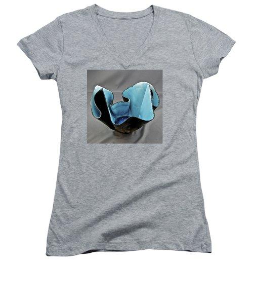 Paper-thin Bowl  09-003 Women's V-Neck T-Shirt (Junior Cut) by Mario Perron