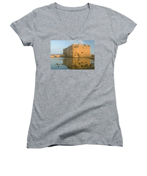 Paphos Harbour Castle Women's V-Neck T-Shirt (Junior Cut) by Jeremy Voisey