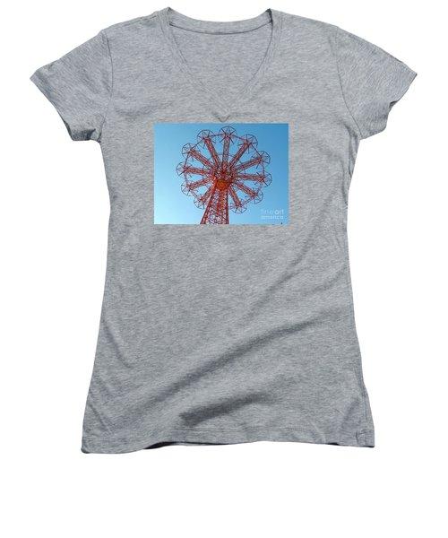 Women's V-Neck T-Shirt (Junior Cut) featuring the photograph Parachute Jump-coney Island by Ed Weidman