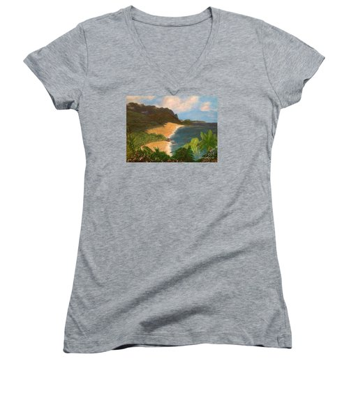 Women's V-Neck T-Shirt (Junior Cut) featuring the painting Paradise by Vanessa Palomino