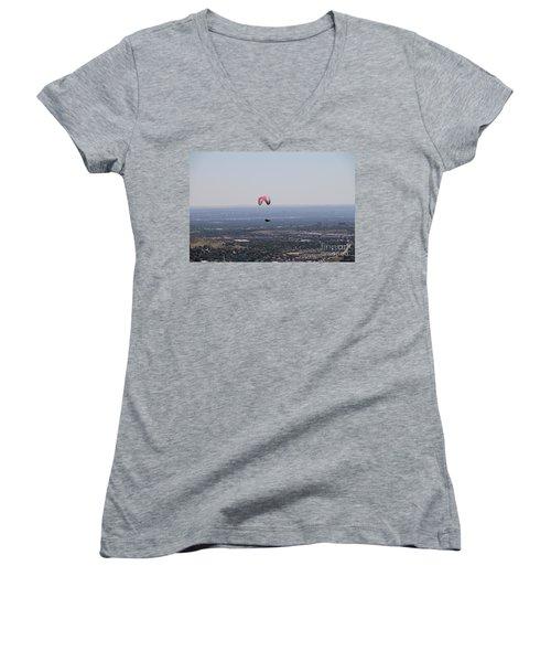 Women's V-Neck T-Shirt (Junior Cut) featuring the photograph Paragliding Over Golden by Chris Thomas