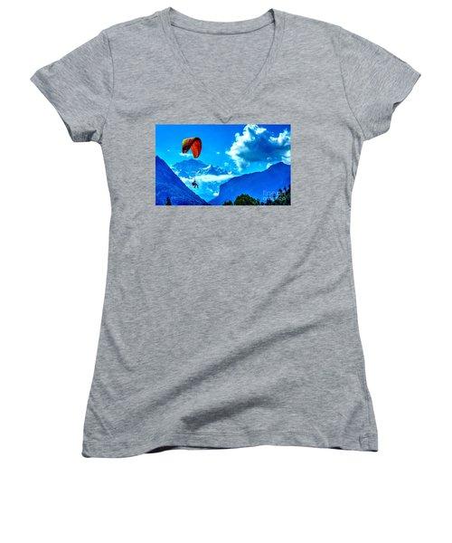 Women's V-Neck T-Shirt (Junior Cut) featuring the photograph Parasailing Swiss Alps by Joe  Ng