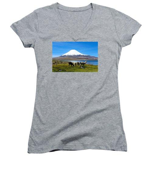 Parinacota Volcano Lake Chungara Chile Women's V-Neck T-Shirt (Junior Cut) by Kurt Van Wagner