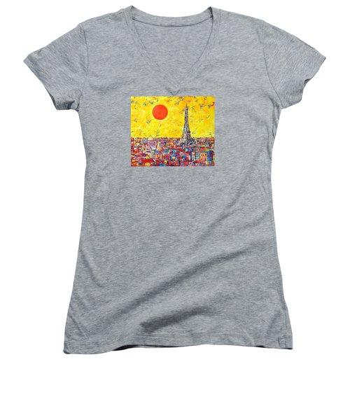 Paris In Sunlight Women's V-Neck T-Shirt (Junior Cut) by Ana Maria Edulescu