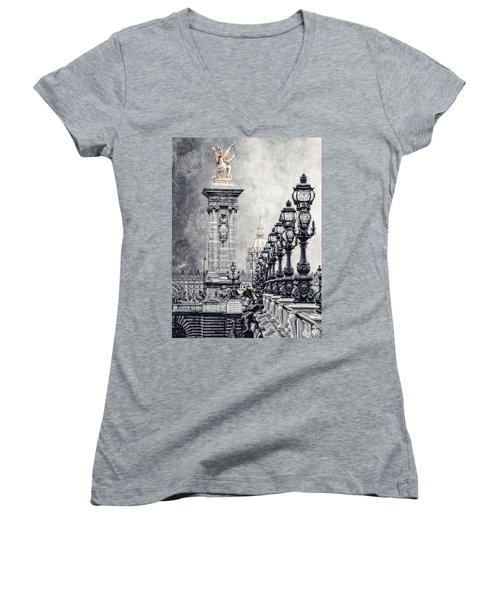 Paris Pompous 2 Women's V-Neck T-Shirt (Junior Cut) by Joachim G Pinkawa