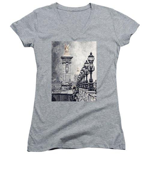 Paris Pompous 2 Women's V-Neck T-Shirt (Junior Cut)