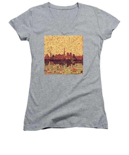 Paris Skyline Abstract Sepia Women's V-Neck T-Shirt (Junior Cut)