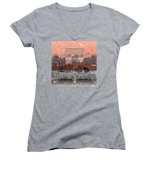 Paris Skyline Landmarks 2 Women's V-Neck T-Shirt (Junior Cut)