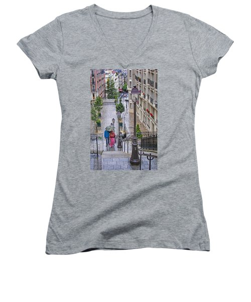 Paris Sous La Pluie Women's V-Neck T-Shirt (Junior Cut) by Nikolyn McDonald