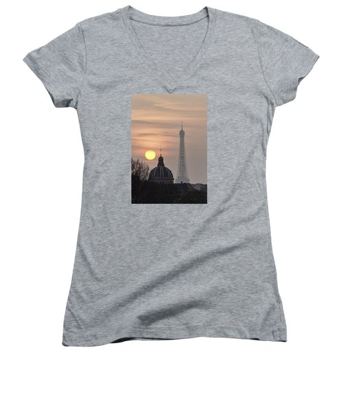 Paris Sunset I Women's V-Neck (Athletic Fit)