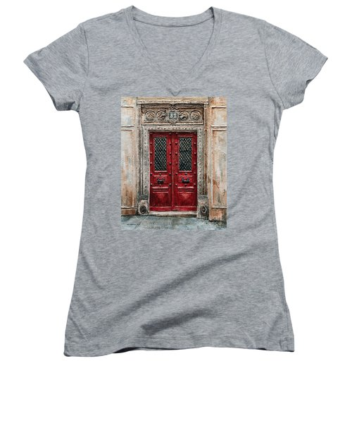 Parisian Door No.82 Women's V-Neck T-Shirt (Junior Cut) by Joey Agbayani