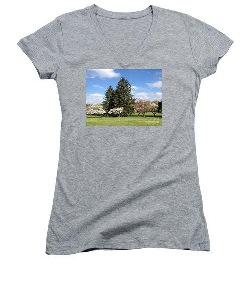Women's V-Neck T-Shirt (Junior Cut) featuring the photograph Cedar Beach Park  by Jeannie Rhode