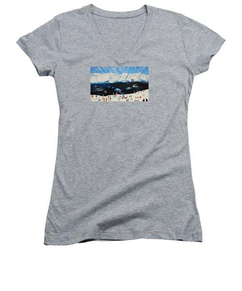 Party At Antarctic Women's V-Neck T-Shirt (Junior Cut) by Raymond Perez