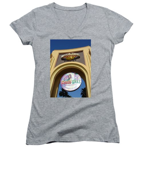 Women's V-Neck T-Shirt (Junior Cut) featuring the photograph Party Time by David Nicholls