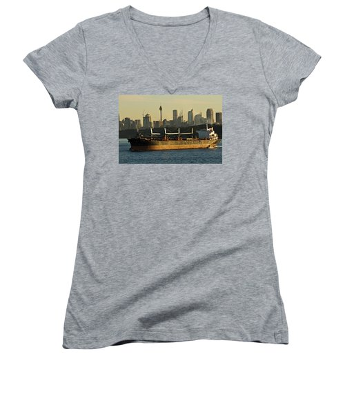 Women's V-Neck T-Shirt (Junior Cut) featuring the photograph Passing Sydney In The Sunset by Miroslava Jurcik