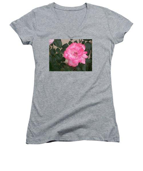 Women's V-Neck T-Shirt (Junior Cut) featuring the photograph Passion Pink by Jewel Hengen