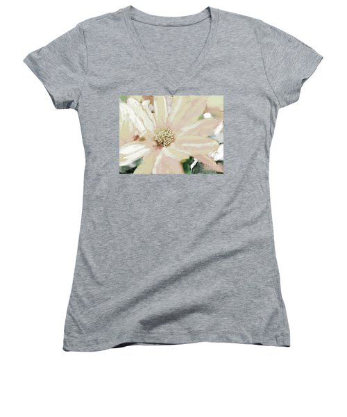 Pastel Daisy Photoart Women's V-Neck T-Shirt (Junior Cut) by Debbie Portwood
