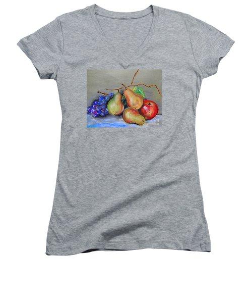 Pastel Pear Still Life Women's V-Neck T-Shirt (Junior Cut) by Michael Hoard
