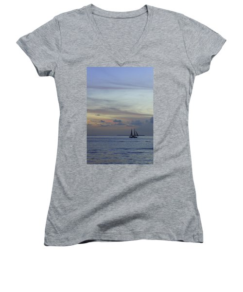 Women's V-Neck T-Shirt (Junior Cut) featuring the photograph Pastel Sky by Laurie Perry