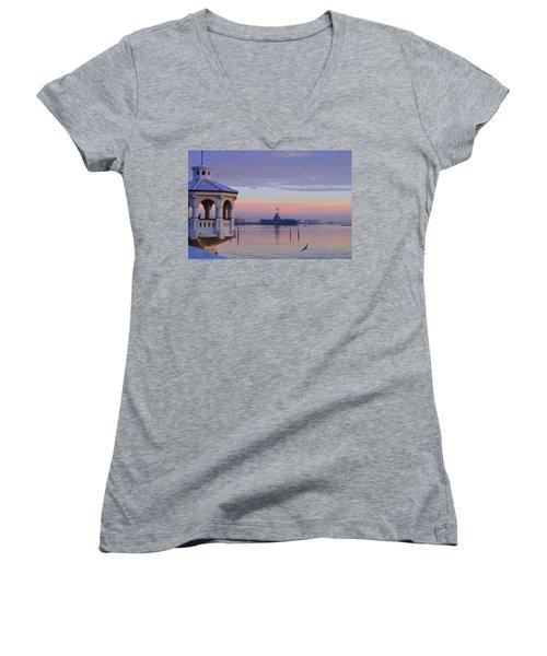 Pastel Uss Lexington Women's V-Neck T-Shirt (Junior Cut) by Leticia Latocki