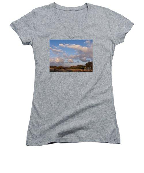 Pasture Clouds Women's V-Neck (Athletic Fit)