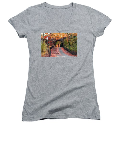 Path Of Leaves Women's V-Neck (Athletic Fit)
