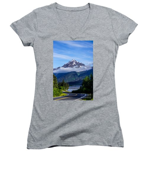 Path Through Alaska Women's V-Neck T-Shirt (Junior Cut) by Jennifer White