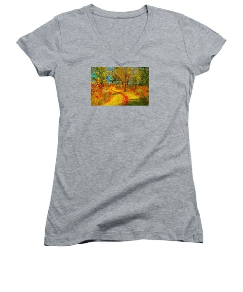 Path Through The Woods Women's V-Neck T-Shirt (Junior Cut) by William Beuther