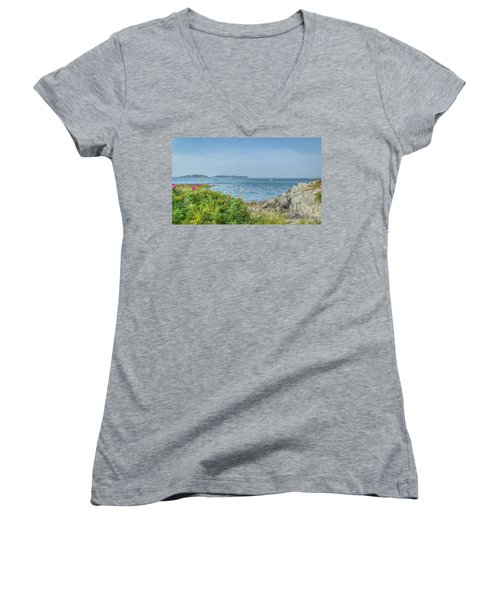 Women's V-Neck T-Shirt (Junior Cut) featuring the photograph Path To The Cove by Jane Luxton