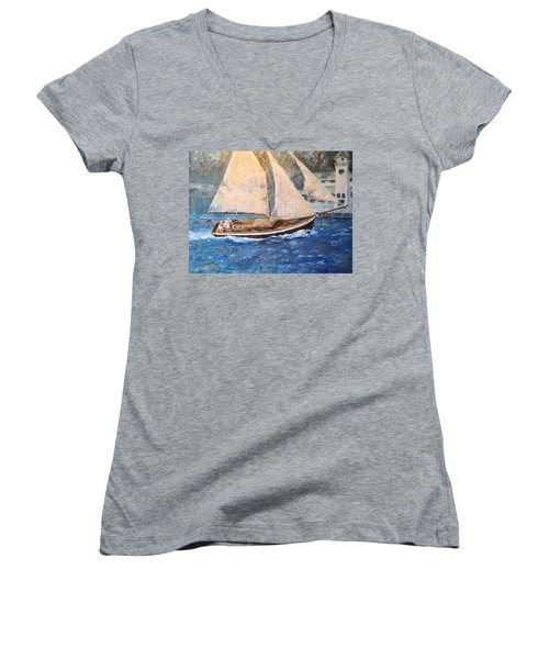 Patriot At Catalina Lighthouse Women's V-Neck T-Shirt (Junior Cut) by Alan Lakin
