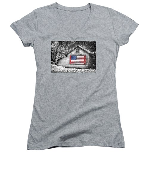 Patriotic American Shed Women's V-Neck