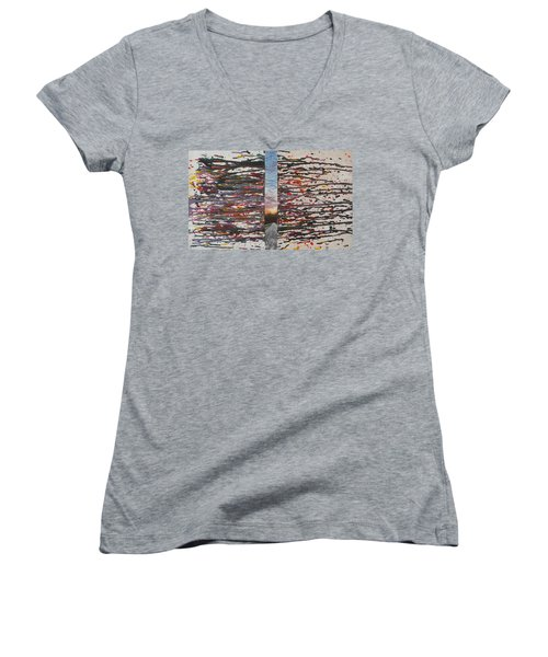 Women's V-Neck T-Shirt featuring the painting Pause by Thomasina Durkay