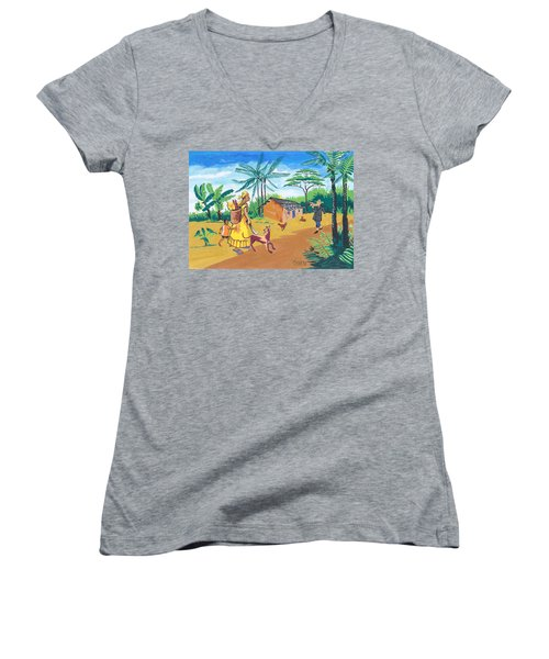 Women's V-Neck T-Shirt (Junior Cut) featuring the painting Paysage Du Sud Du Cameroon by Emmanuel Baliyanga