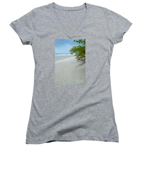 Peace And Quiet On Sanibel Island Women's V-Neck T-Shirt (Junior Cut) by Jennifer White