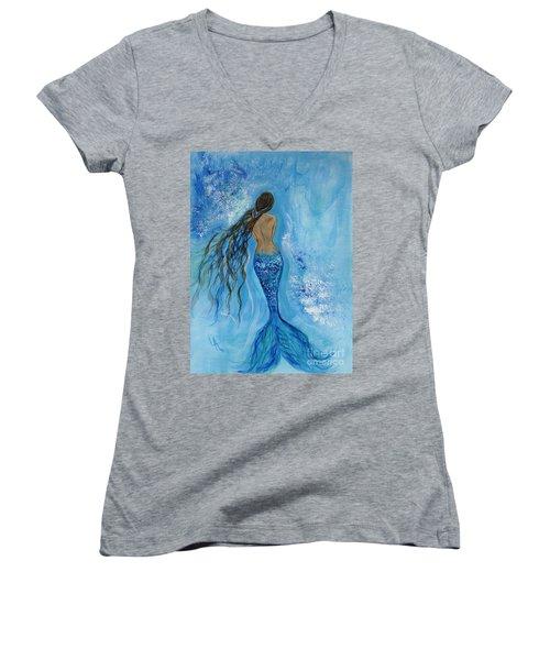 Peace Beneath Women's V-Neck T-Shirt (Junior Cut) by Leslie Allen