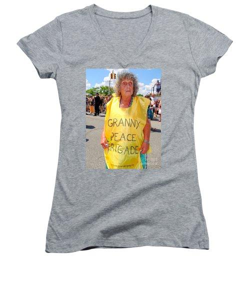 Women's V-Neck T-Shirt (Junior Cut) featuring the photograph Peace Granny by Ed Weidman