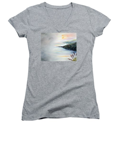 Women's V-Neck T-Shirt (Junior Cut) featuring the painting Peace by Meaghan Troup