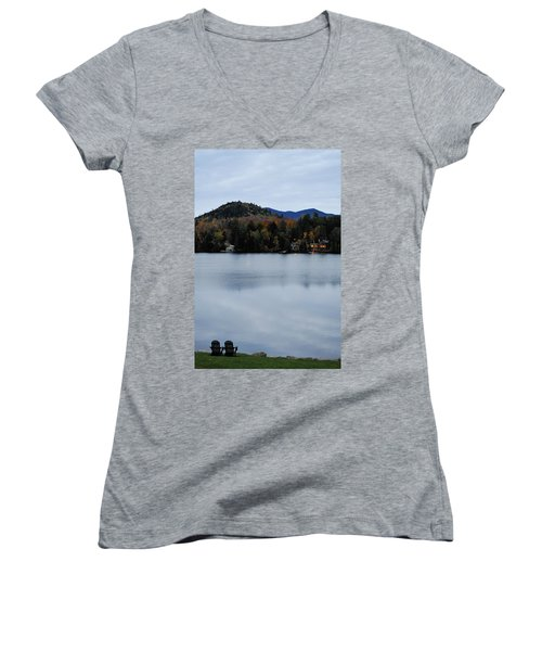 Peaceful Evening At The Lake Women's V-Neck (Athletic Fit)