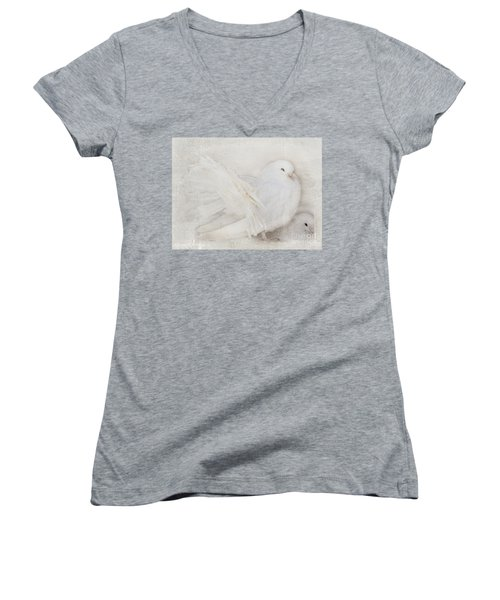 Peaceful Existence White On White Women's V-Neck T-Shirt (Junior Cut) by Barbara McMahon
