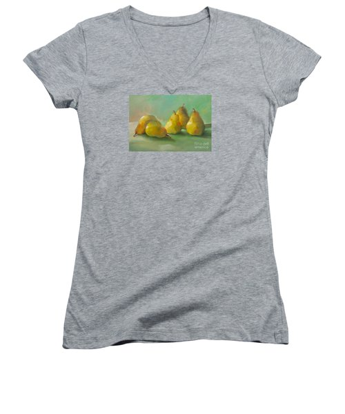 Peaceful Pears Women's V-Neck T-Shirt (Junior Cut) by Michelle Abrams